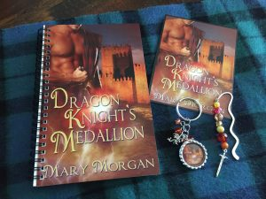 Giveaway ~ Dragon Knight's Medallion Journal, Keychain, jeweled bookmark, and postcard.