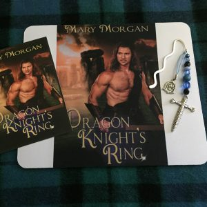 Giveaway: Dragon Knight's Ring mousepad, postcard, and jeweled bookmark, designed by Nicole Laverdure